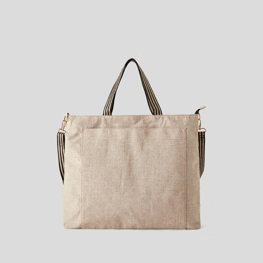 Strandtasche aus einer Leinenmischung mit Lurex-Effekt