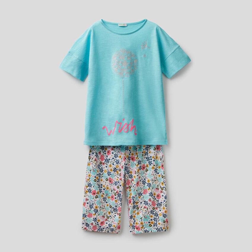 Pyjama mit Print und Cropped-Hose