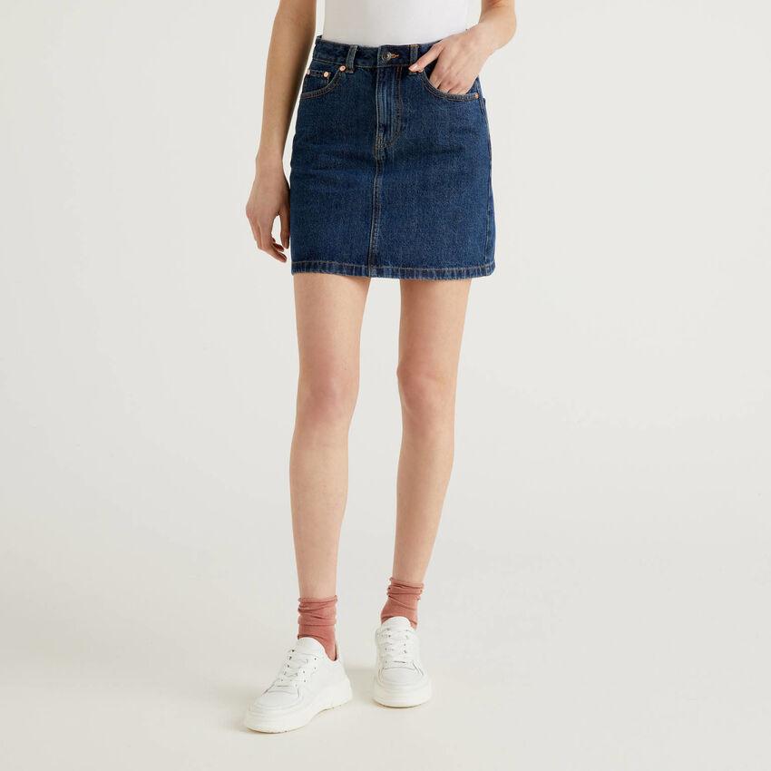 Minirock in Jeans aus 100% Baumwolle