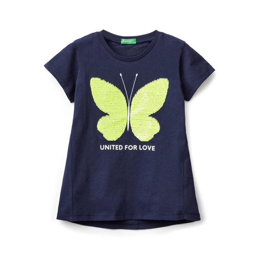 T-Shirt aus Baumwolle mit Pailletten
