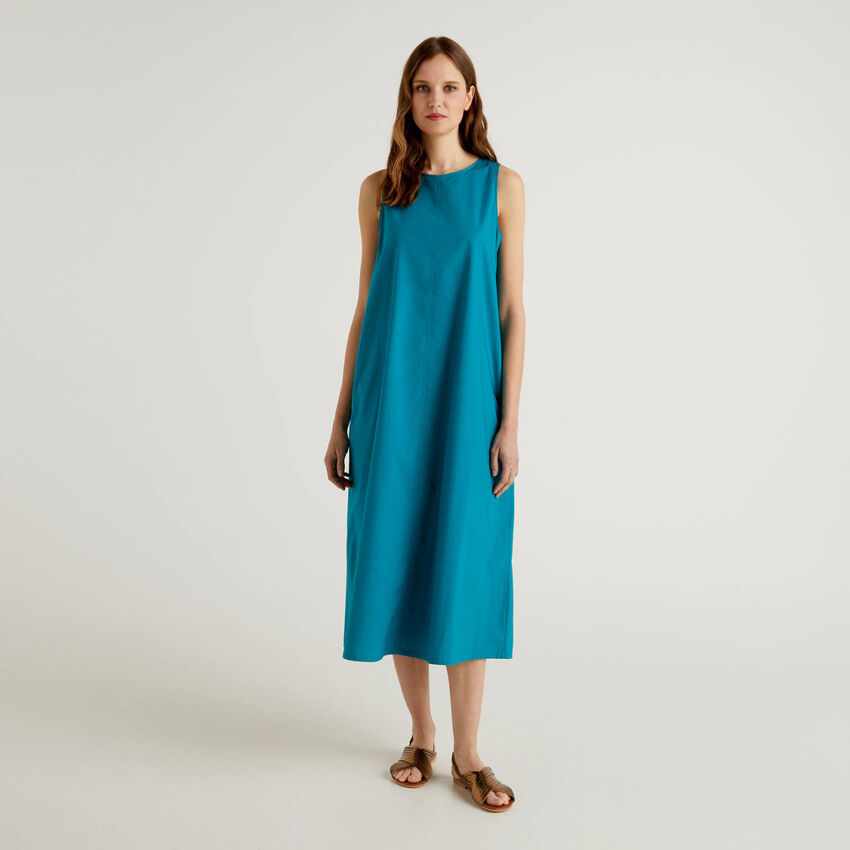 Langes, ärmelloses Kleid aus 100% Baumwolle