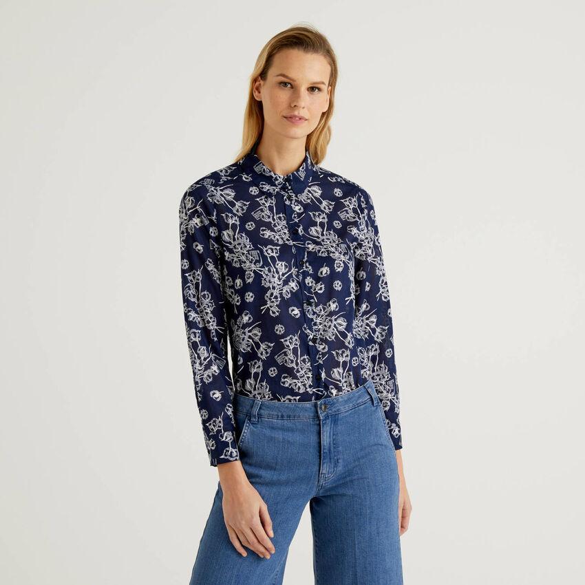Blau Bluse in 100% Baumwolle mit floralem Print