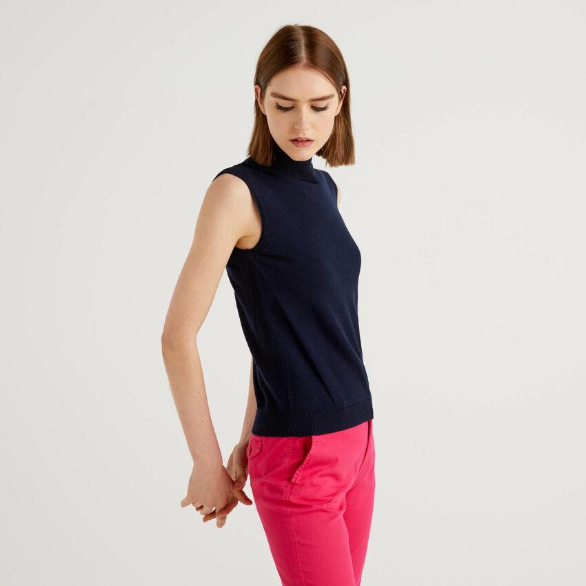 Ärmelloser Pullover in einer Cashmeremischung
