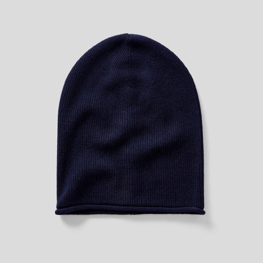 Gerippte Mütze in einer Wollmischung