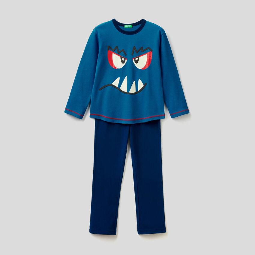 Pyjamas aus reiner Baumwolle mit Print