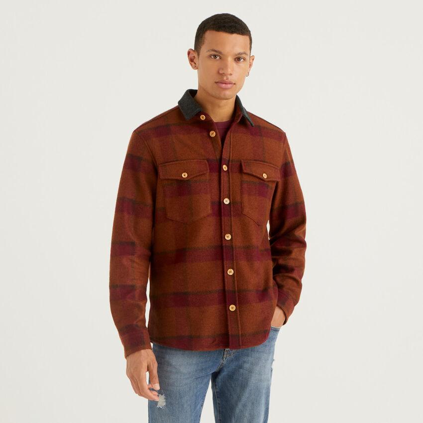 Hemdjacke aus Mischwolle