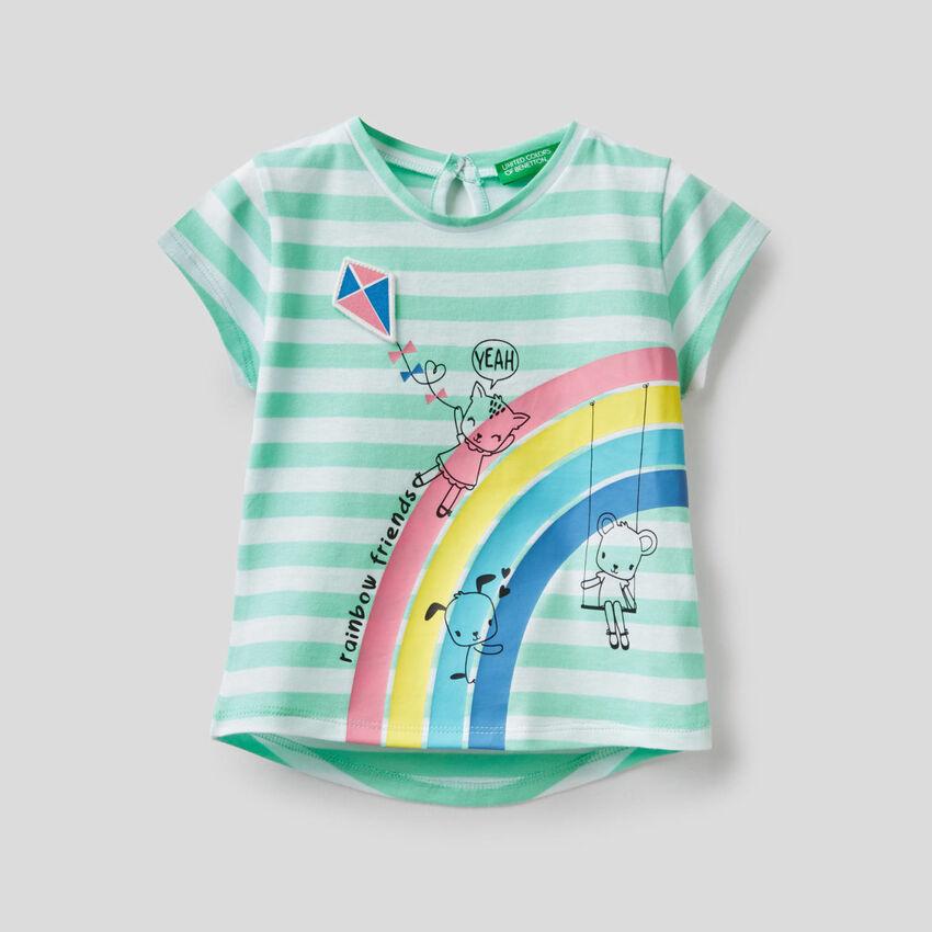 Gestreiftes T-Shirt aus 100% Baumwolle