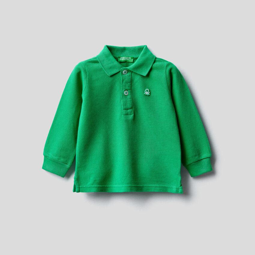 Langärmliges Polo aus Bio-Baumwolle