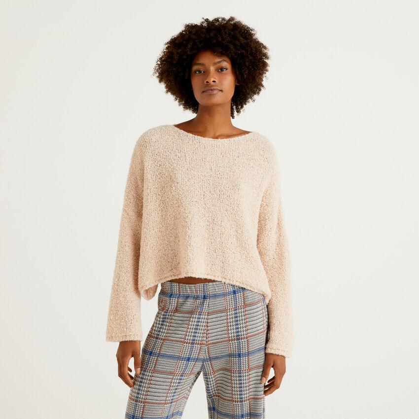 Cropped-Pullover aus einer Mischung aus Bouclé-Wolle