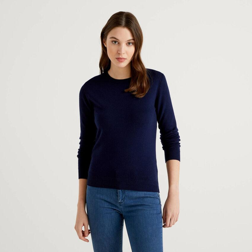 Dunkelblauer Pullover aus reiner Schurwolle mit Rundausschnitt