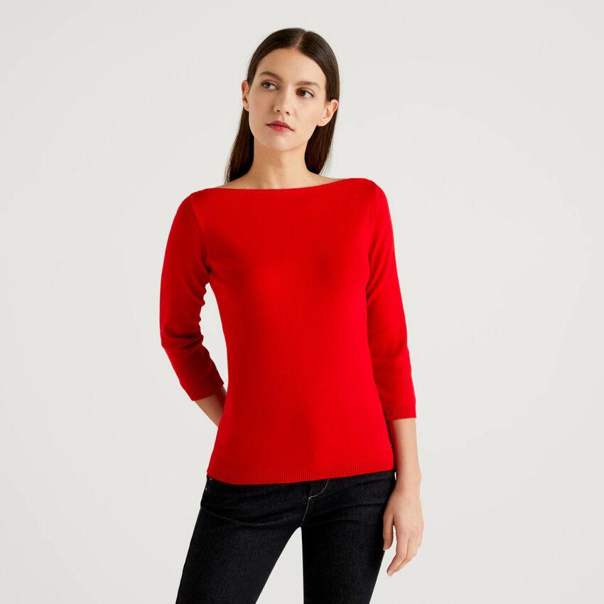 Pullover aus 100% Baumwolle mit U-Boot-Ausschnitt