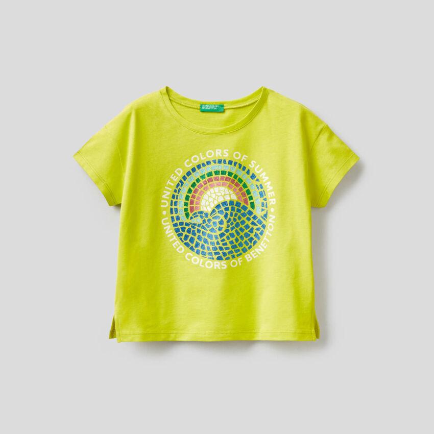 T-Shirt mit Glitter-Print