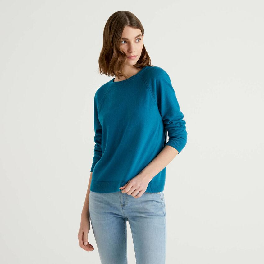 Oktanfarbener Pullover mit Rundausschnitt in einer Mischung aus Wolle und Cashmere