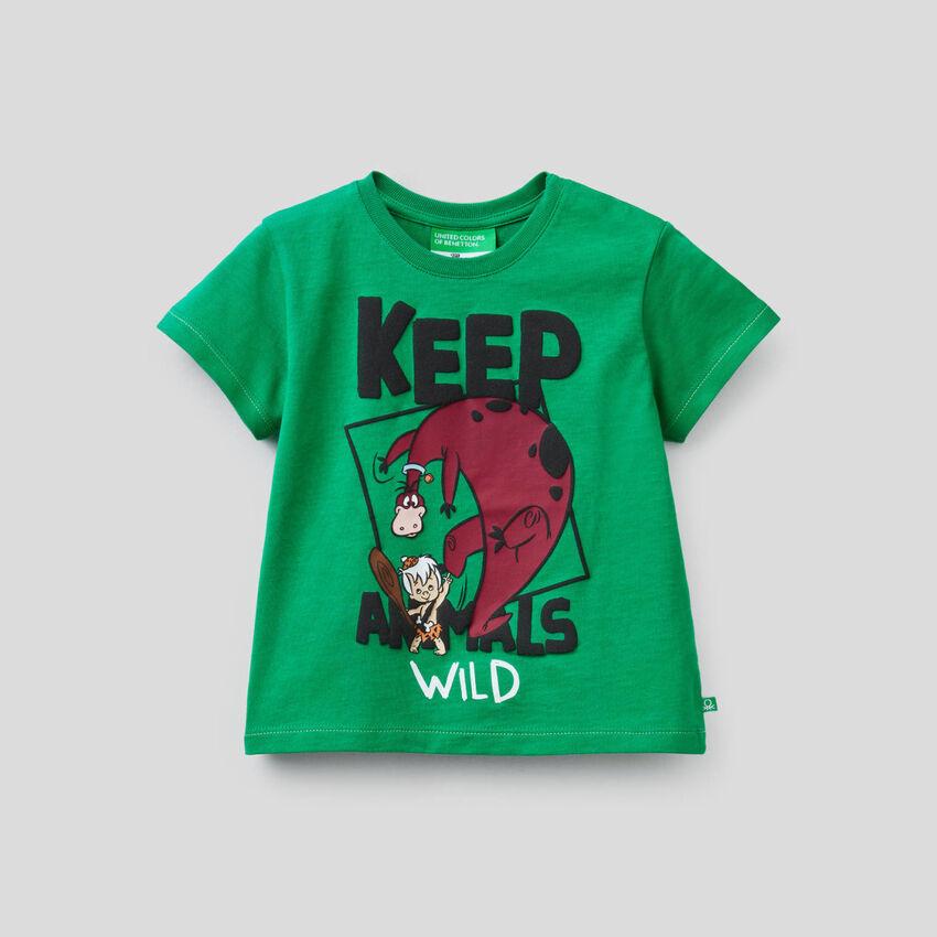 Grünes T-Shirt mit Print von Familie Feuerstein