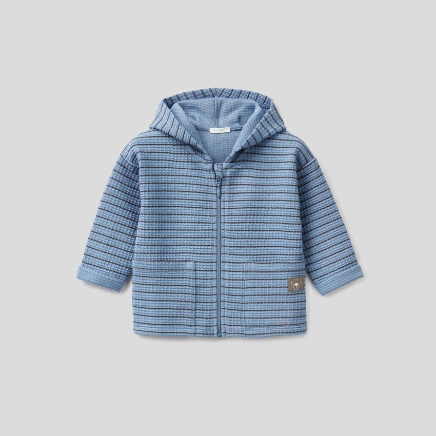 Gestreiftes Sweatshirt mit Kapuze aus Bio-Baumwolle