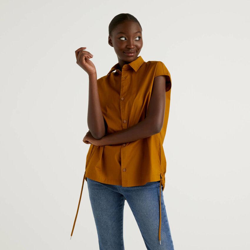 Bluse aus stretchiger Baumwolle mit Tunnelzug