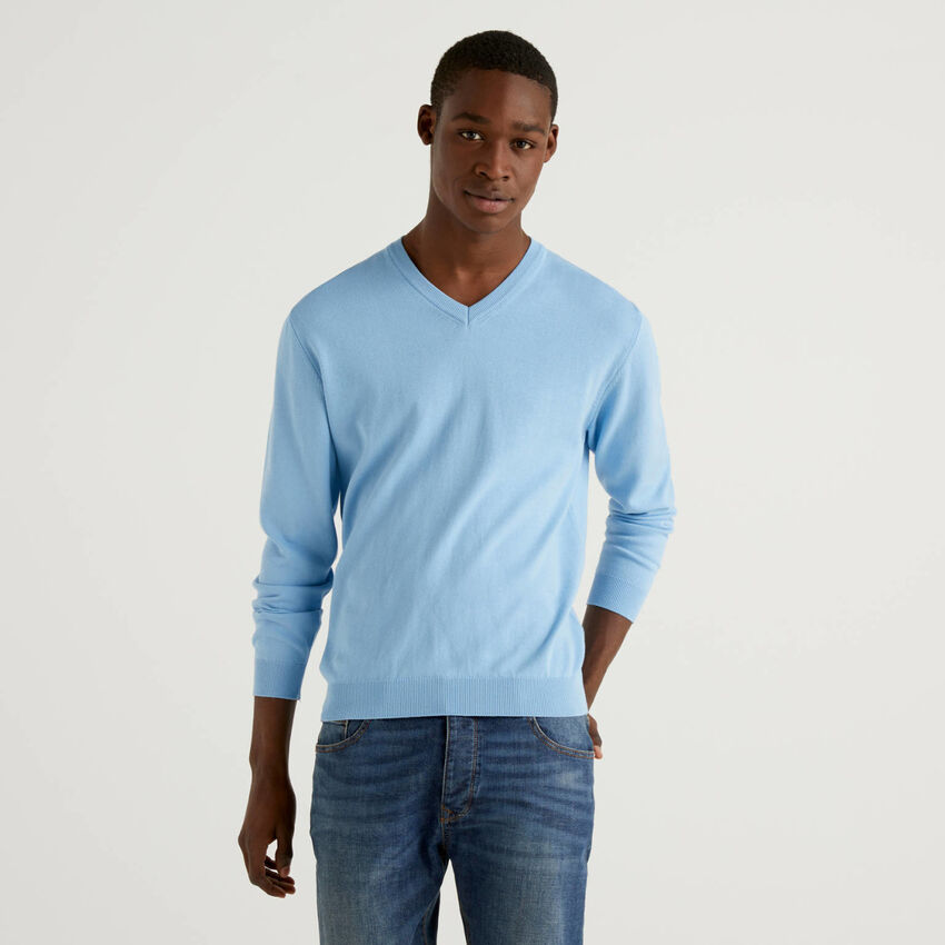 Pullover aus reiner Baumwolle mit V-Ausschnitt