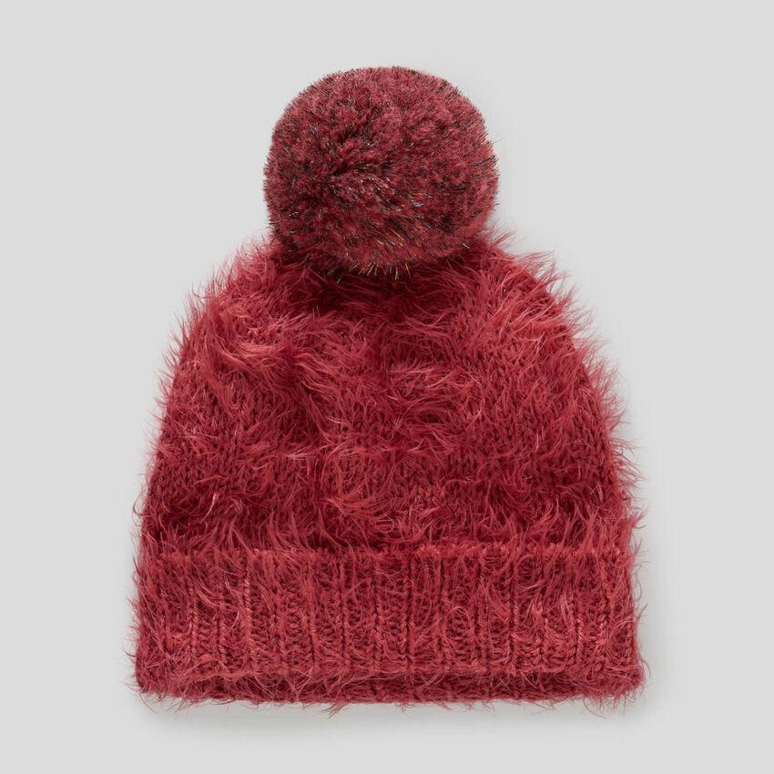 Mütze mit schillerndem Pompon