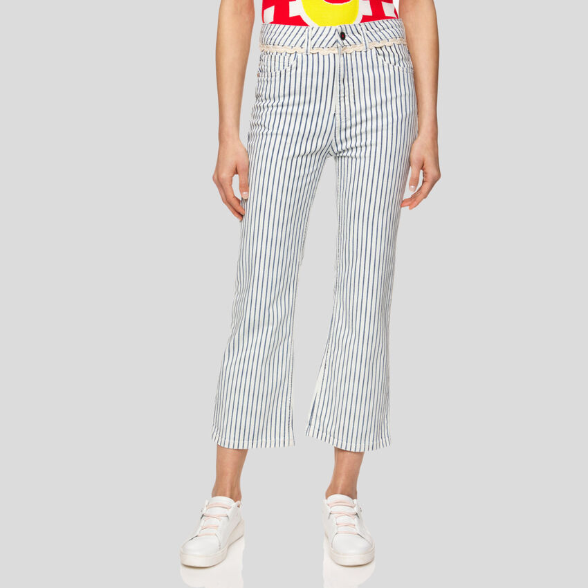 Cropped-Jeans mit Streifen