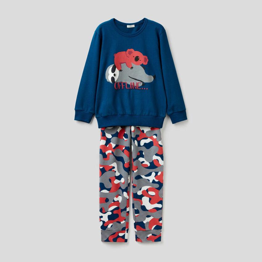 Langer Pyjama aus Baumwolle mit Prints