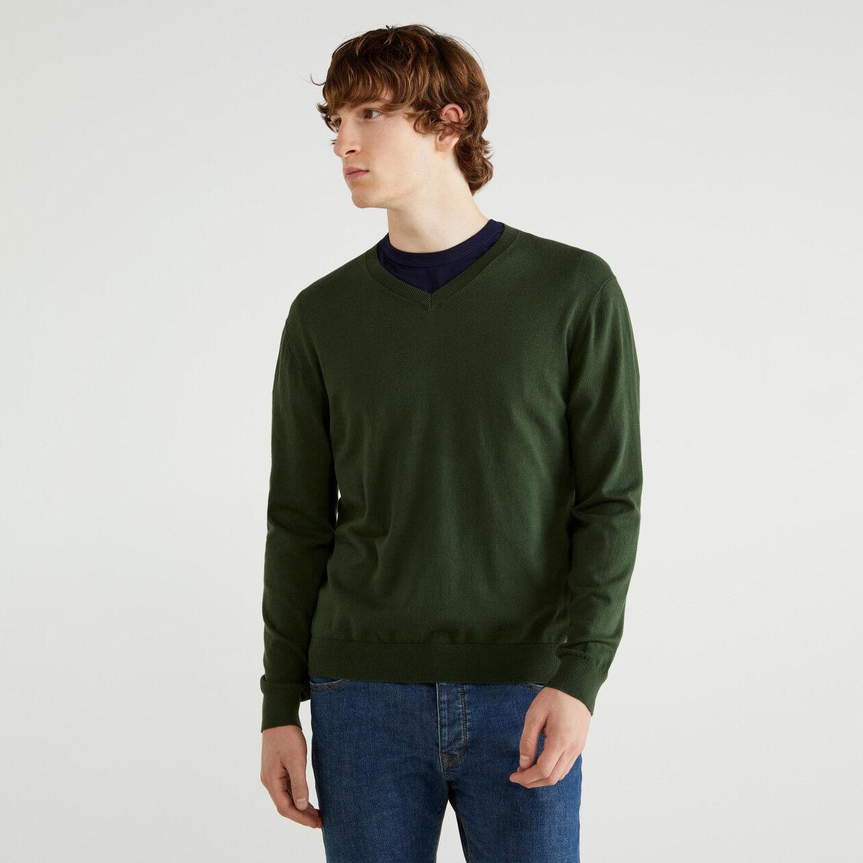 Pullover mit V-Ausschnitt aus Trikot-Baumwolle