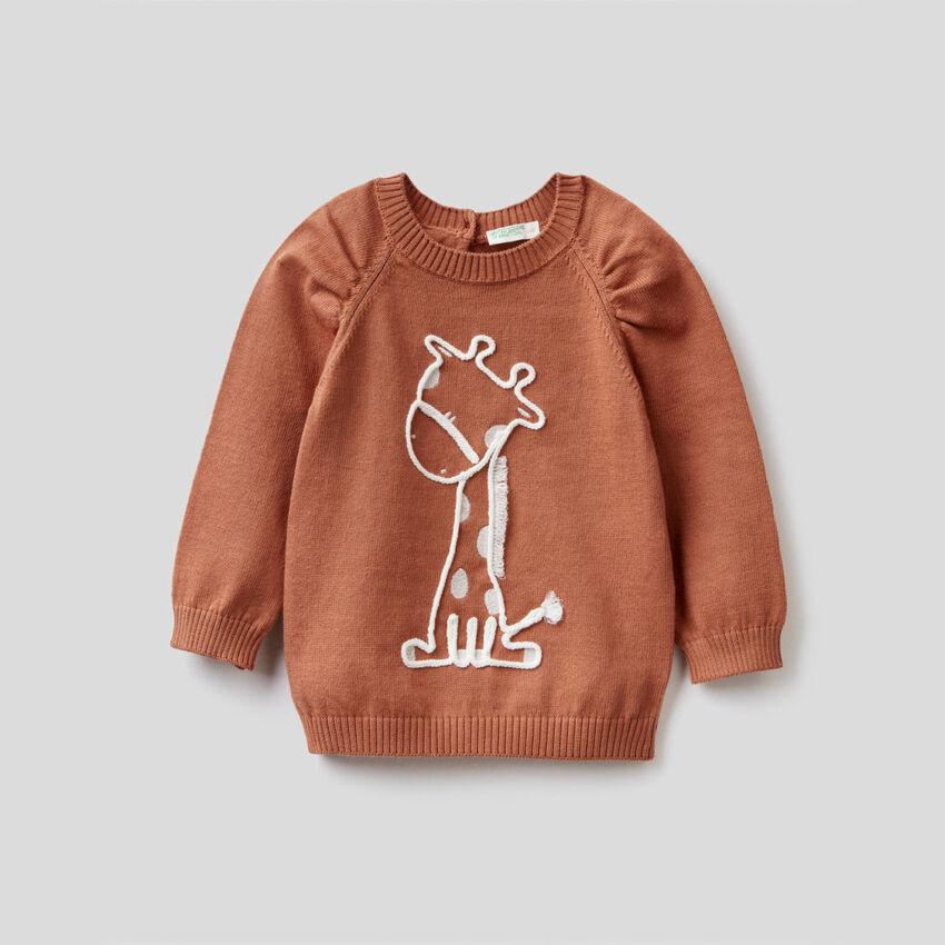 Pullover aus reiner Baumwolle mit Stickerei