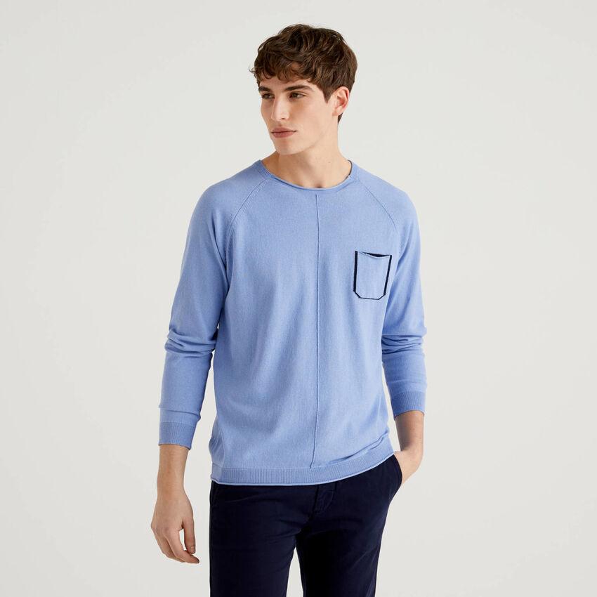 Pullover aus Baumwolle mit kleiner Tasche