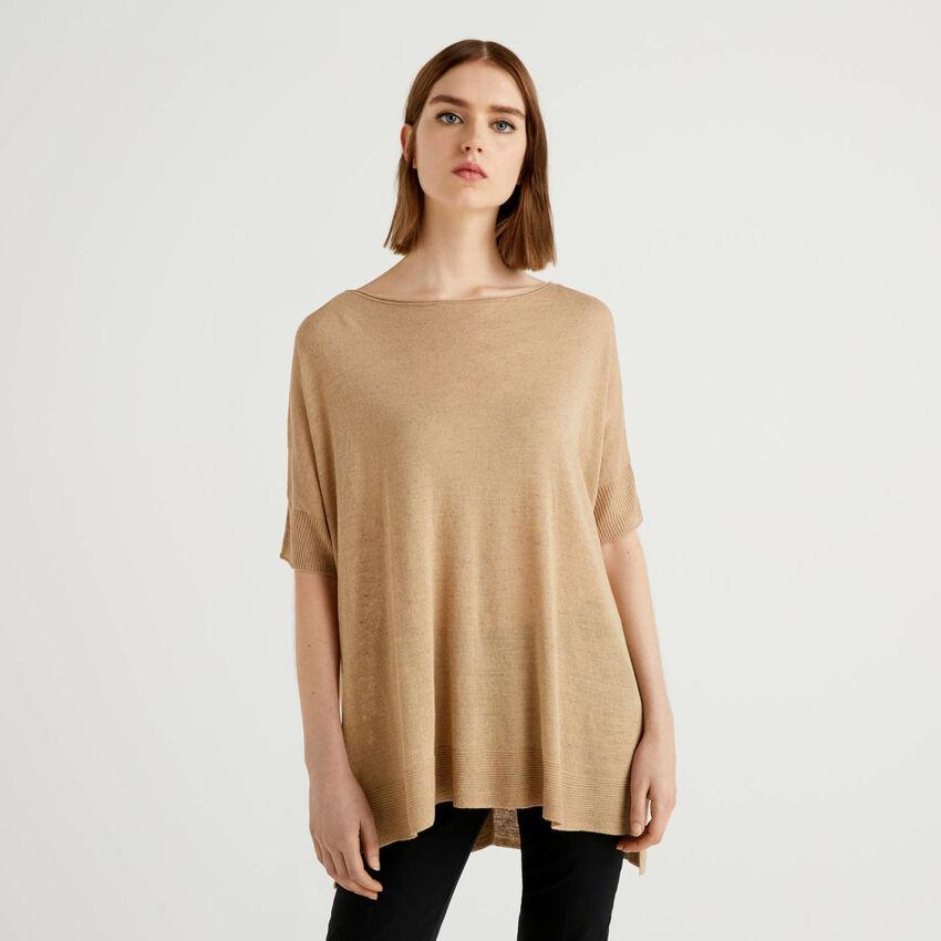 Oversize-Pullover mit kurzen Ärmeln