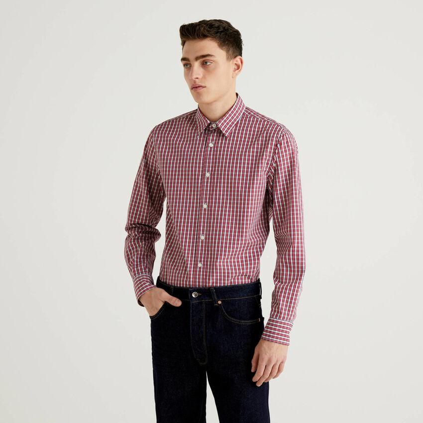 Slim-Fit-Hemd aus Baumwolle in durchgefärbtem Garn