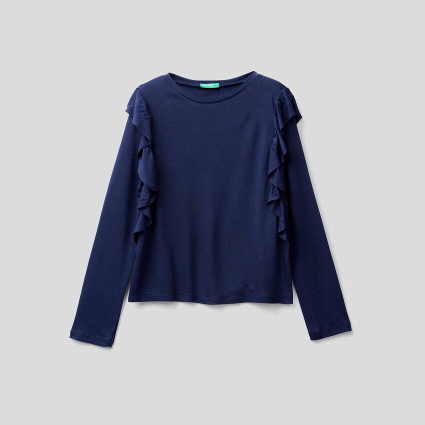 T-Shirt mit langen Ärmeln und Volant