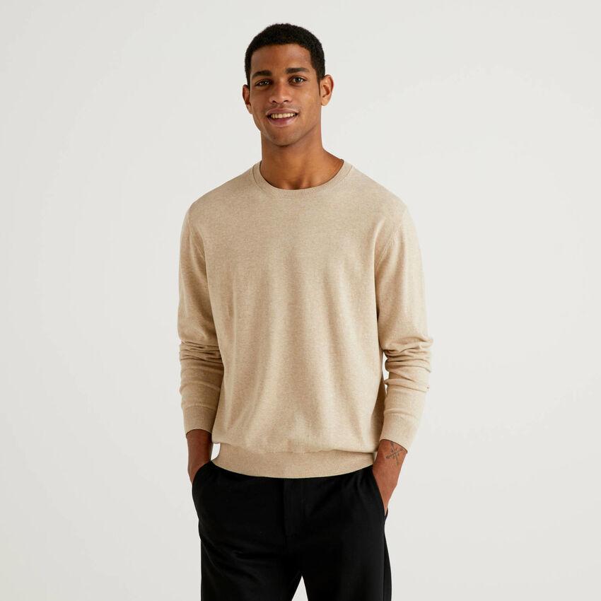 Pullover aus einer Baumwollmischung mit Rundausschnitt