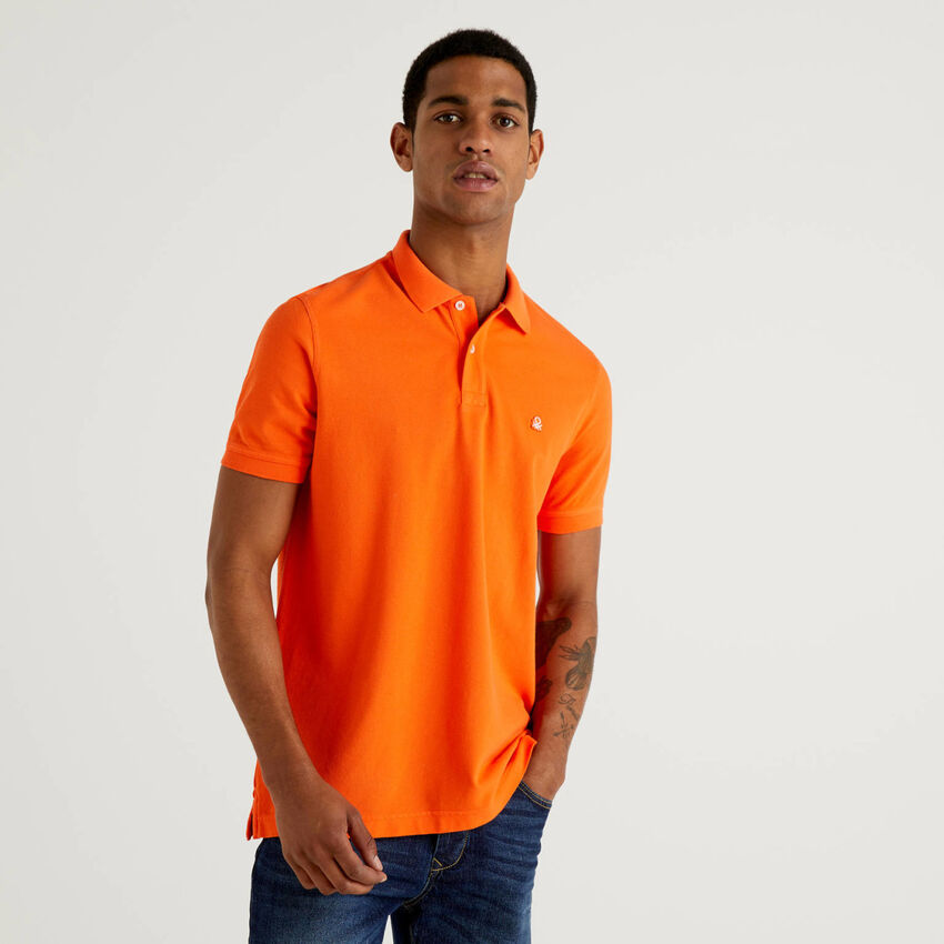 Personalisierbares Regular-Fit-Polo in Orange