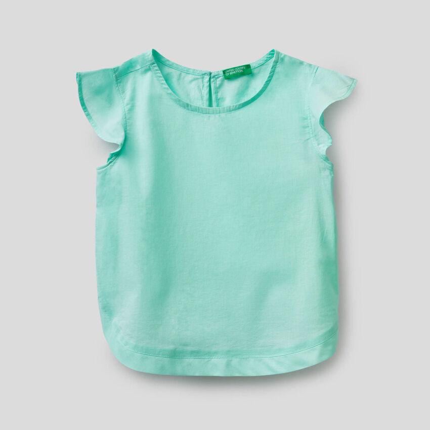Bluse aus Baumwolle mit Volant-Ärmeln