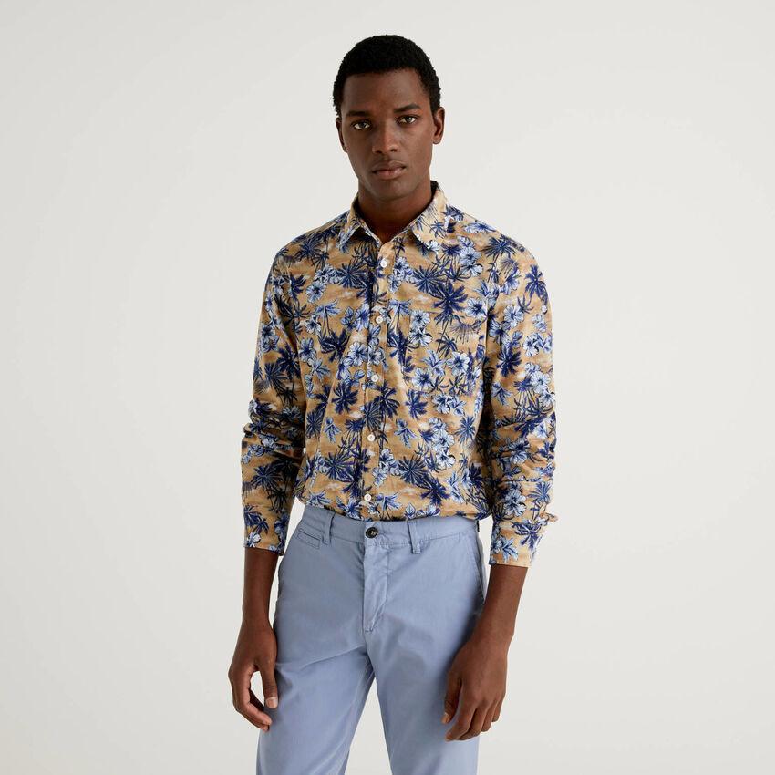 Hemd aus 100% Baumwolle mit Botanik-Print