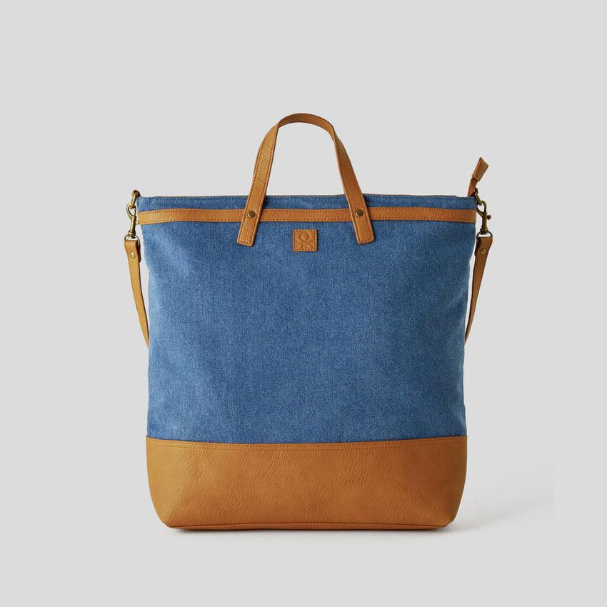 Shopping Bag mit Denim-Effekt