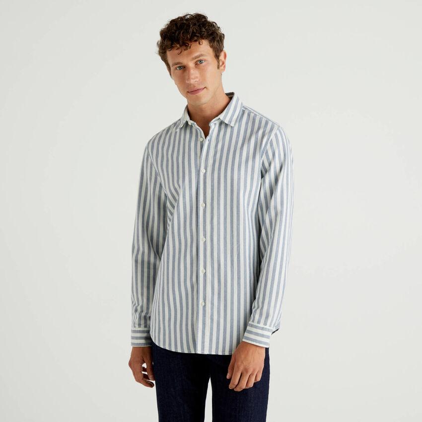Gestreiftes Hemd aus 100% Oxford-Baumwolle
