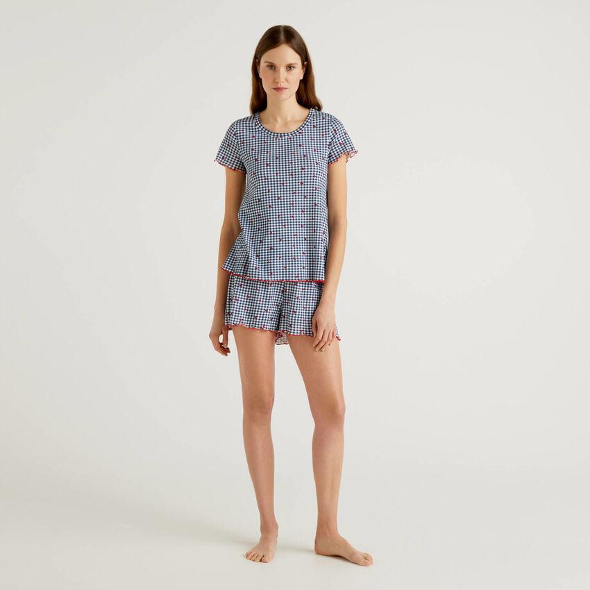 Gemusterter Pyjama aus reiner Baumwolle