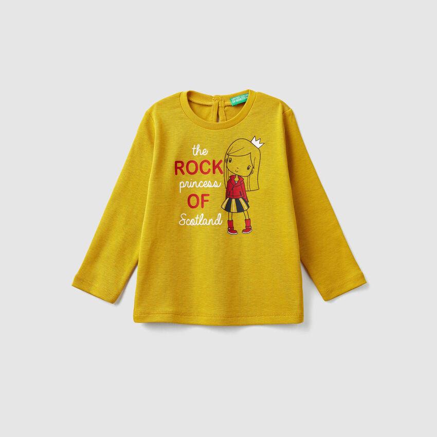 T-Shirt mit Print und Rippenmuster