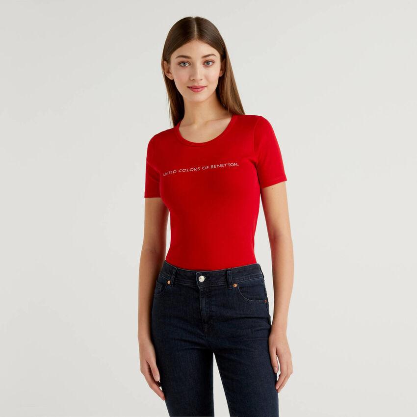 T-Shirt aus 100% Baumwolle mit glitzerndem Logoprint