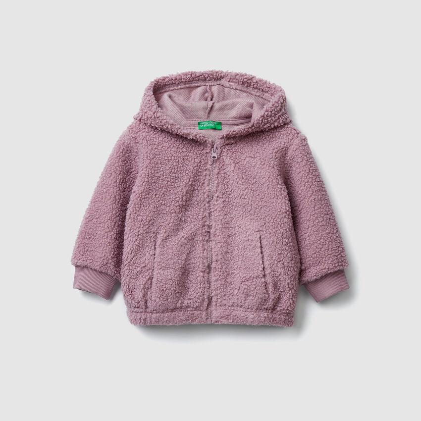 Sweatshirt aus Fleece mit Stickerei am Rücken