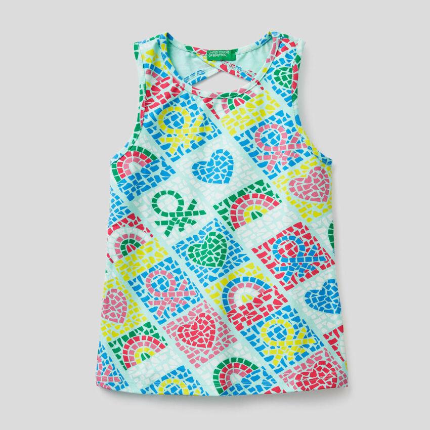 Top aus stretchiger Baumwolle mit Print