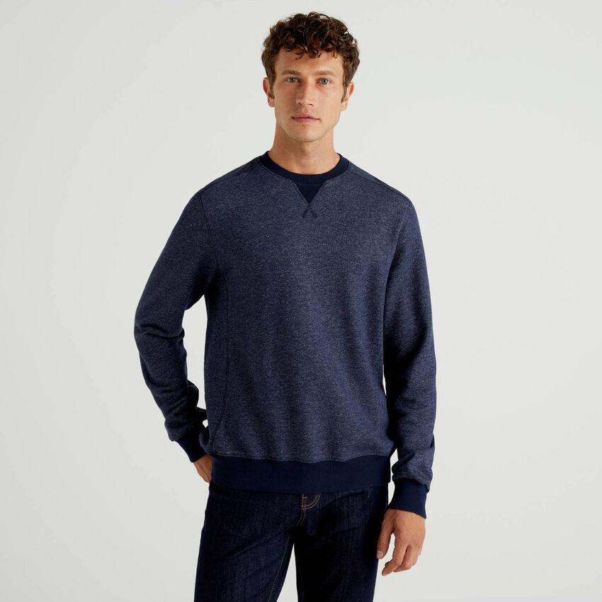 Sweatshirt mit Denim-Effekt und Rundausschnitt