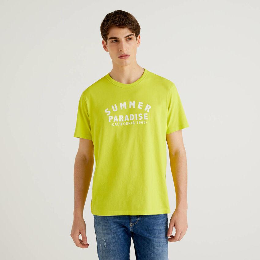 Zitronengelbes T-Shirt aus 100% Baumwolle mit Print