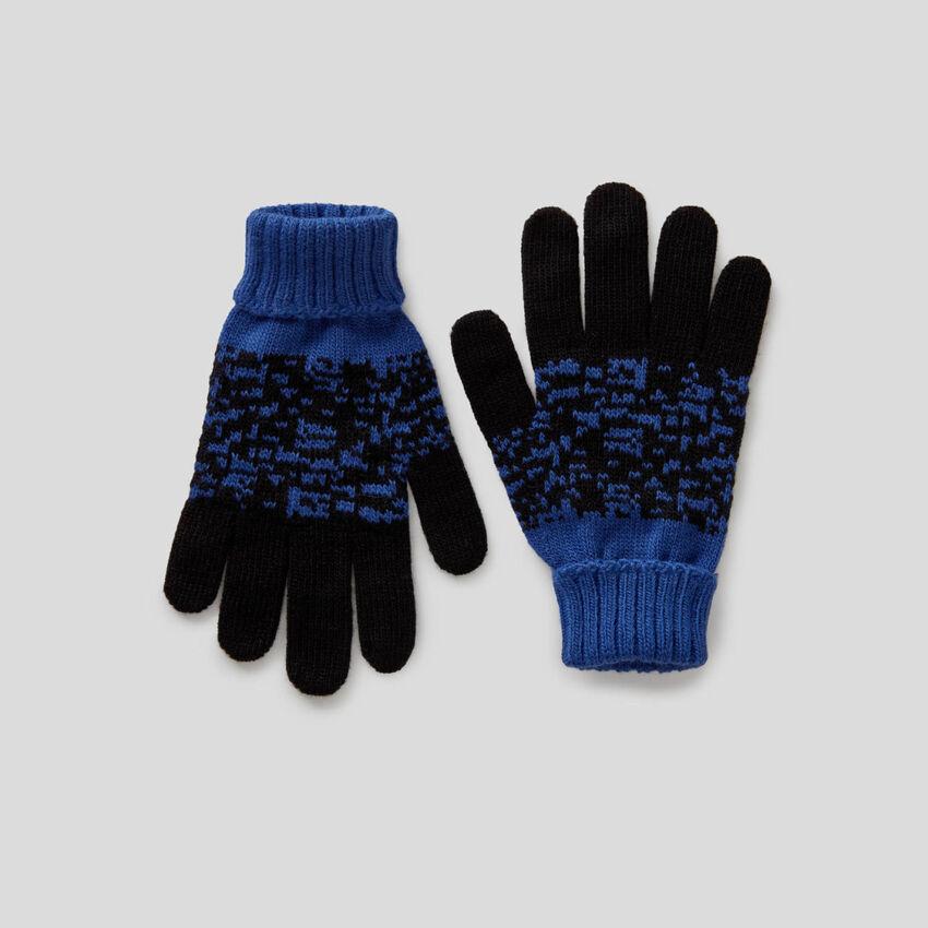 Handschuhe mit melierten Bändern