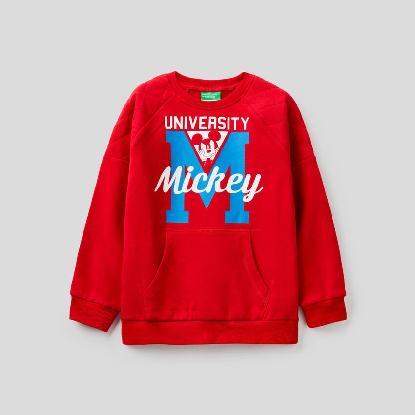 Micky-Maus-Sweatshirt mit Details im Lochmuster