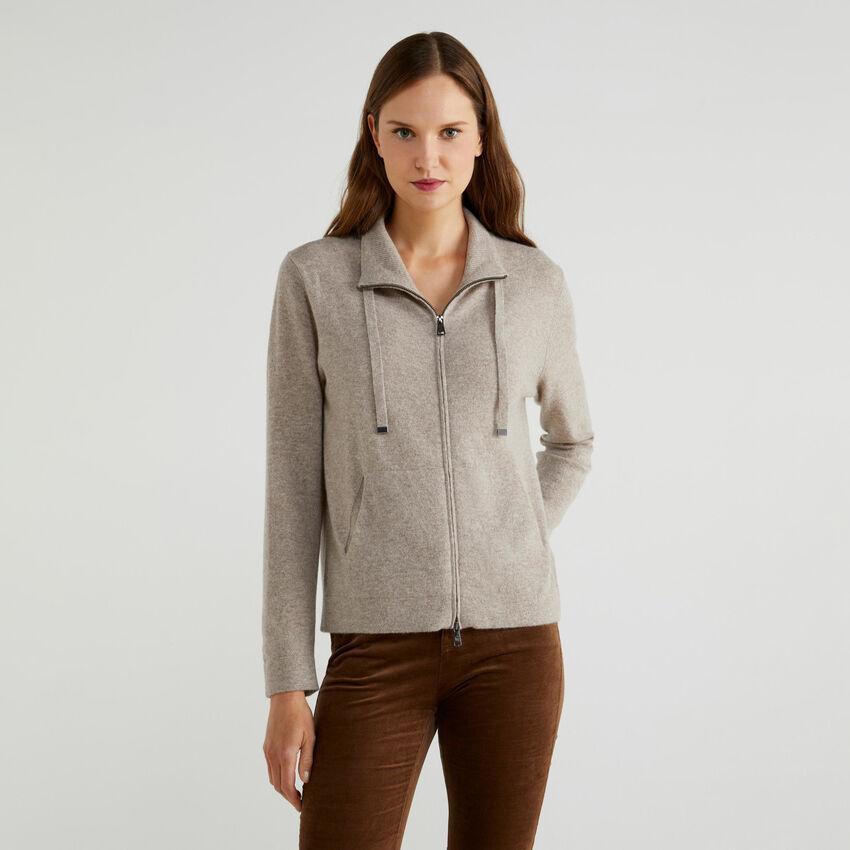 Pullover aus Cashmere und Schurwolle mit Reißverschluss