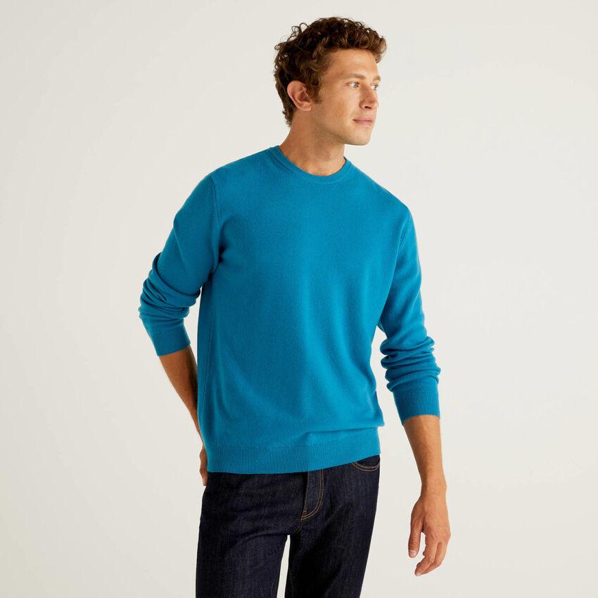 Oktanfarbener Pullover aus reiner Schurwolle mit Rundausschnitt