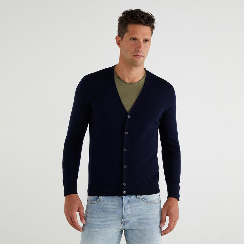 Strickjacke aus reiner Wolle Merino Extra Fine mit V-Ausschnitt