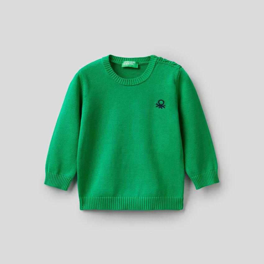 Pullover aus Trikot in reiner Baumwolle