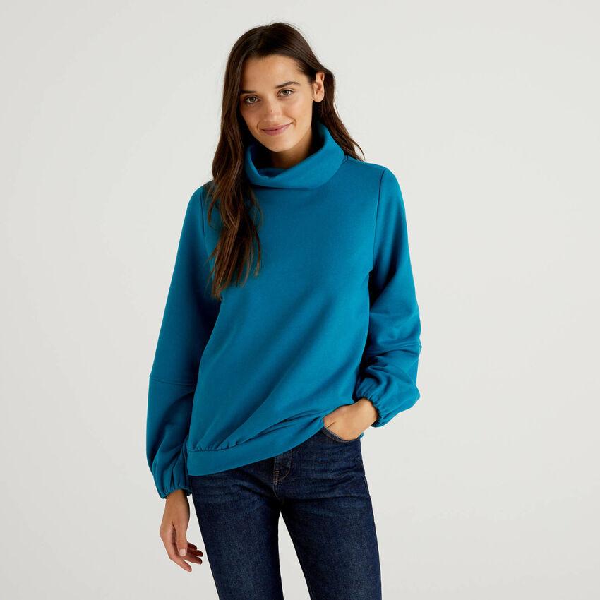 Sweatshirt mit hohem Kragen und Puffärmeln